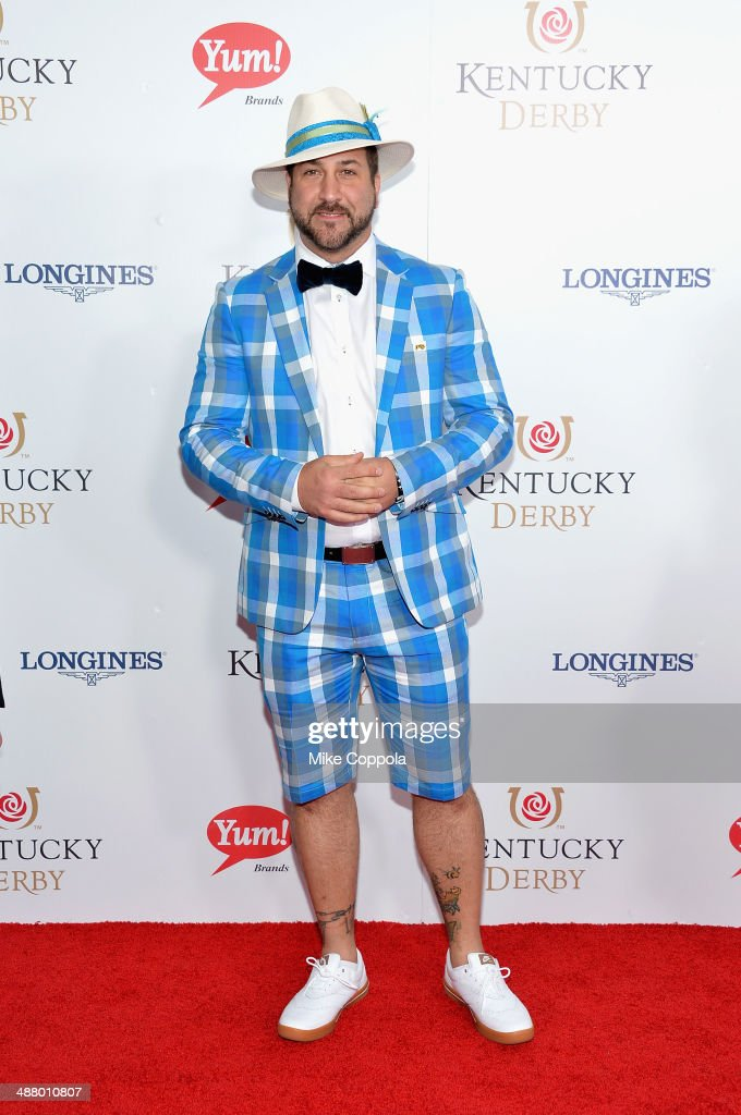 <a gi-track='captionPersonalityLinkClicked' href=/galleries/search?phrase=Joey+Fatone&family=editorial&specificpeople=204237 ng-click='$event.stopPropagation()'>Joey Fatone</a> attends 140th Kentucky Derby at Churchill Downs on May 3, 2014 in Louisville, Kentucky.