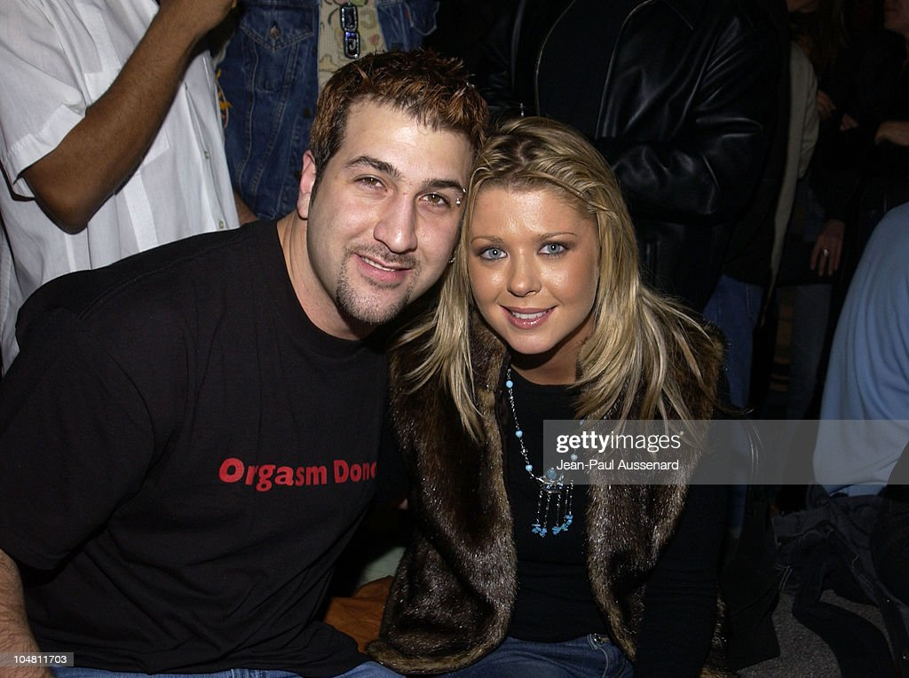 Joey Fatone & Tara Reid during Frederick's of Hollywood Red Party at Falcon in Hollywood, California, United States.