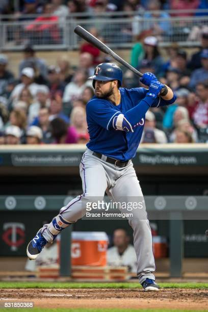 Joey Gallo of the Texas Rangers bats against the Minnesota Twins on August 5 2017 at Target Field in Minneapolis Minnesota The Rangers defeated the...