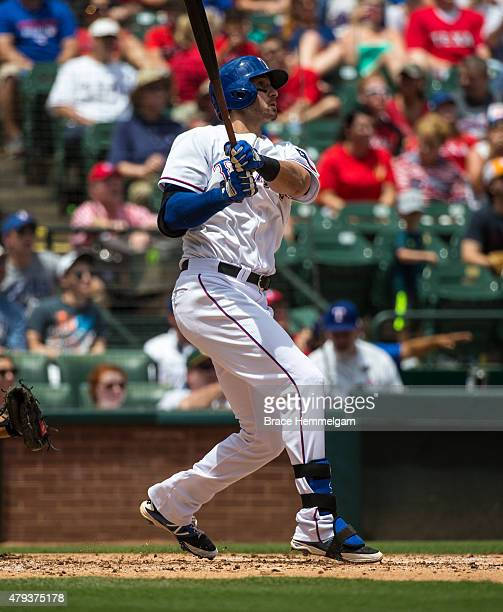 Joey Gallo of the Texas Rangers bats and hits a home run against the Minnesota Twins on June 14 2015 at Globe Life Park in Arlington Texas The Twins...