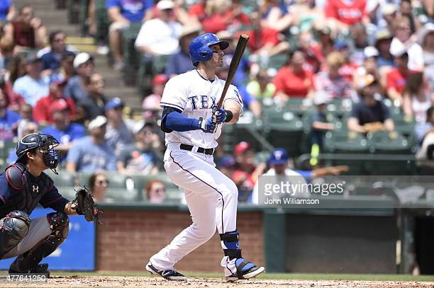 Joey Gallo of the Texas Rangers bats and hits a home run in the game against the Minnesota Twins at Globe Life Park on June 14 2015 in Arlington...