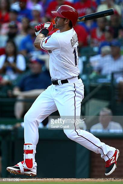 Joey Gallo of the Texas Rangers bats during a game against the Los Angeles Dodgers at Globe Life Park in Arlington on June 15 2015 in Arlington Texas...