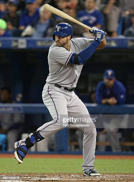 Joey Gallo of the Texas Rangers bats in the second inning during MLB game action against the Toronto Blue Jays on June 27 2015 at Rogers Centre in...