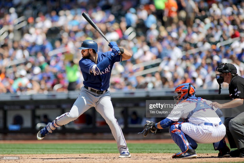Joey Gallo #13 of the Texas Rangers batting during the Texas Rangers Vs New York Mets regular season MLB game at Citi Field on August 9, 2017 in New York City.
