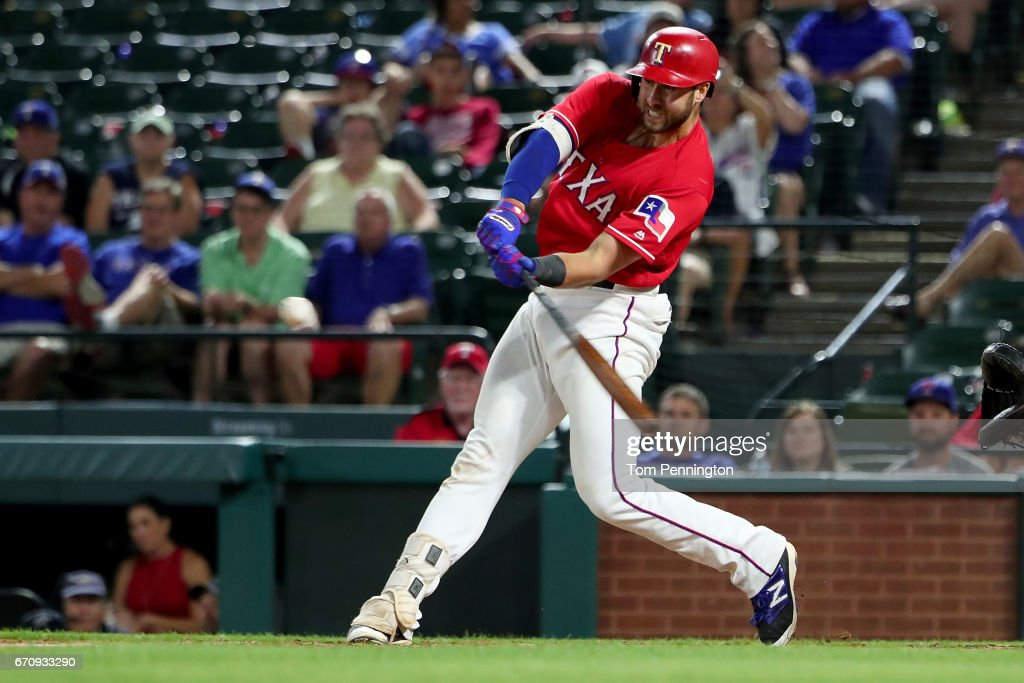 Joey Gallo #13 of the Texas Rangers hits a double against the Kansas City Royals in the bottom of the 13th inning at Globe Life Park in Arlington on April 20, 2017 in Arlington, Texas.