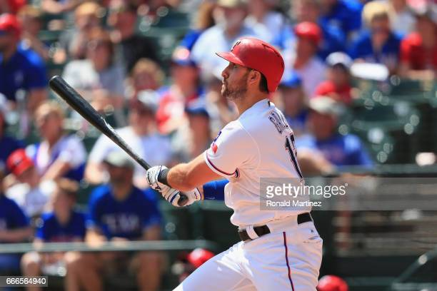 Joey Gallo of the Texas Rangers hits a threerun home run in the second inning against the Oakland Athletics at Globe Life Park in Arlington on April...