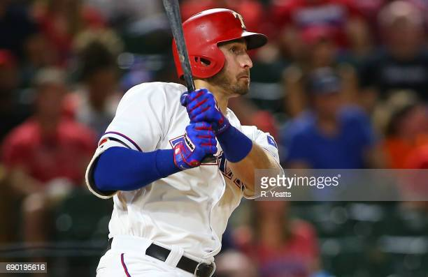Joey Gallo of the Texas Rangers hits a two run home run in the fifth inning against the Philadelphia Phillies at Globe Life Park in Arlington on May...