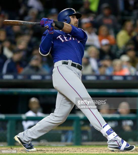 Joey Gallo of the Texas Rangers hits a tworun home run against the Detroit Tigers during the sixth inning at Comerica Park on May 19 2017 in Detroit...