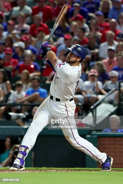 Joey Gallo of the Texas Rangers hits an insidethepark home run against the Toronto Blue Jays in the bottom of the fifth inning at Globe Life Park in...