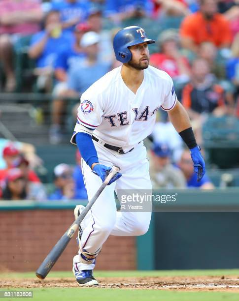 Joey Gallo of the Texas Rangers hits in the second inning against the Baltimore Orioles at Globe Life Park in Arlington on July 28 2017 in Arlington...
