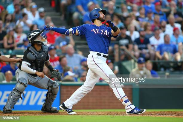 Joey Gallo of the Texas Rangers hits in the second inning against the Chicago White Sox at Globe Life Park in Arlington on August 18 2017 in...