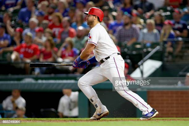 Joey Gallo of the Texas Rangers hits in the seventh inning against the Cleveland Indians at Globe Life Park in Arlington on April 4 2017 in Arlington...