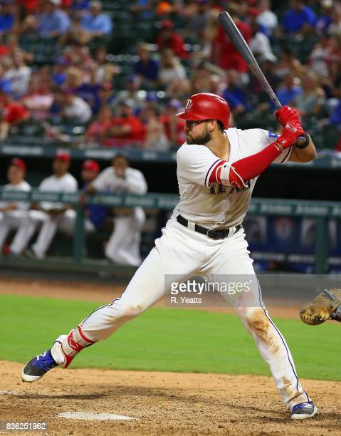 Joey Gallo of the Texas Rangers hits in the seventh inning against the Chicago White Sox at Globe Life Park in Arlington on August 19 2017 in...