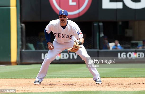 Joey Gallo of the Texas Rangers in action in the first inning against the Minnesota Twins at Global Life Park in Arlington on June 14 2015 in...