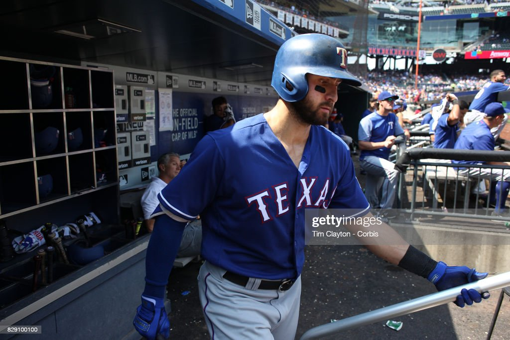 Joey Gallo #13 of the Texas Rangers leaves the dugout to bat during the Texas Rangers Vs New York Mets regular season MLB game at Citi Field on August 9, 2017 in New York City.