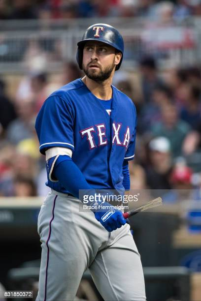 Joey Gallo of the Texas Rangers looks on against the Minnesota Twins on August 5 2017 at Target Field in Minneapolis Minnesota The Rangers defeated...