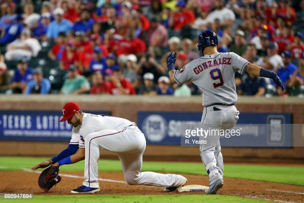 Joey Gallo of the Texas Rangers makes the out on Marwin Gonzalez of the Houston Astros at Globe Life Park in Arlington on June 3 2017 in Arlington...
