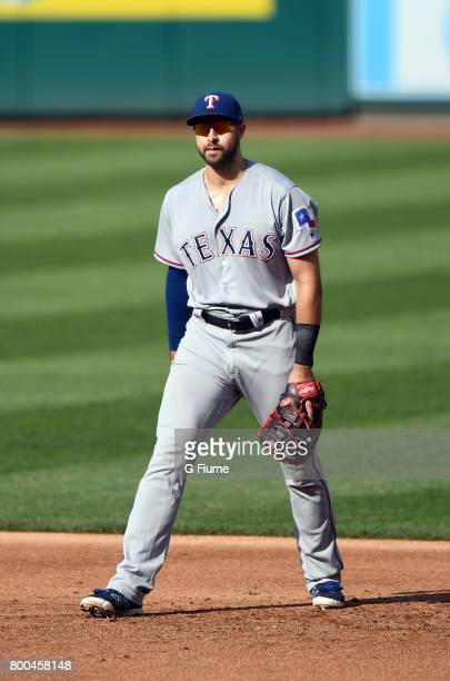 Joey Gallo of the Texas Rangers plays first base against the Washington Nationals at Nationals Park on June 11 2017 in Washington DC