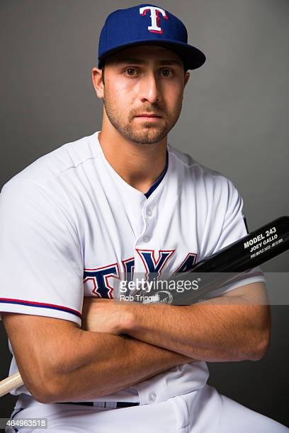 Joey Gallo of the Texas Rangers poses for a portrait during photo day at Surprise Stadium on March 2 2015 in Surprise Arizona