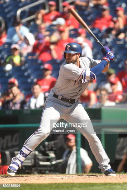 Joey Gallo of the Texas Rangers prepares for a pitch during a baseball game against the Washington Nationals at Nationals Park on June 10 2017 in...