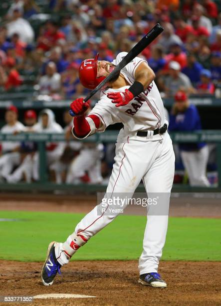 Joey Gallo of the Texas Rangers reacts after being hit by a pitch in the fifth inning against the Houston Astros at Globe Life Park in Arlington on...