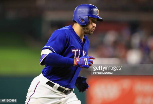 Joey Gallo of the Texas Rangers runs the bases after hitting a home run in the fifth inning against the Kansas City Royals at Globe Life Park in...