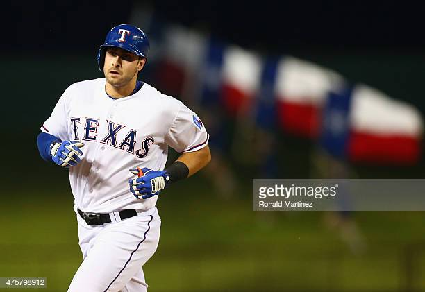 Joey Gallo of the Texas Rangers runs the bases after hitting a homerun against the Chicago White Sox in the ninth inning at Globe Life Park in...