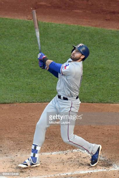 Joey Gallo of the Texas Rangers takes a swing during a baseball game against the Washington Nationals at Nationals Park on June 9 2017 in Washington...