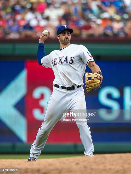 Joey Gallo of the Texas Rangers throws against the Minnesota Twins on June 14 2015 at Globe Life Park in Arlington Texas The Twins defeated the...