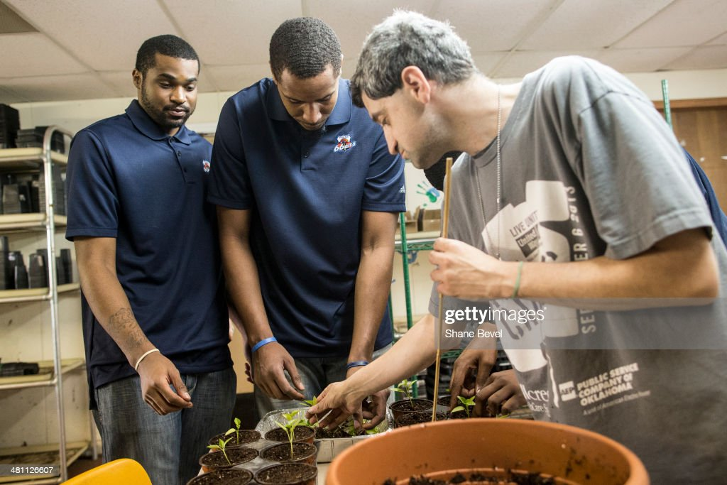 Joey Gidargidz shows Chase Tapley and Ron Anderson of the Tulsa 66ers how to transfer plants to new pots during the NBA D-League community relations event at A New Leaf, a non-profit that employs adults with developmental disabilities, on March 27, 2014 in Broken Arrow, Oklahoma.