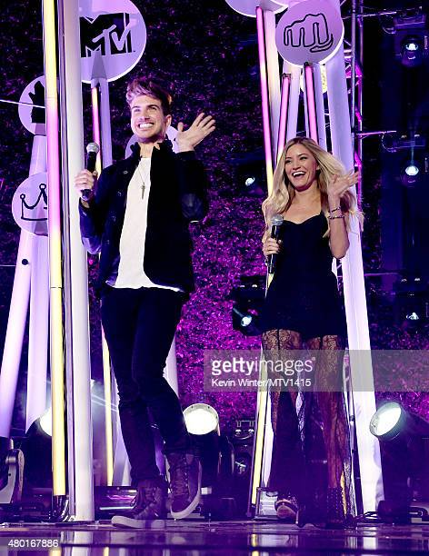 Joey Graceffa and Justine Ezarik onstage during the MTV Fandom Fest San Diego ComicCon at PETCO Park on July 9 2015 in San Diego California
