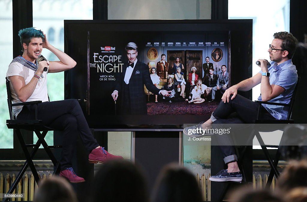 <a gi-track='captionPersonalityLinkClicked' href=/galleries/search?phrase=Joey+Graceffa&family=editorial&specificpeople=9869192 ng-click='$event.stopPropagation()'>Joey Graceffa</a> speaks during the AOL Build Presents - You Tube Star <a gi-track='captionPersonalityLinkClicked' href=/galleries/search?phrase=Joey+Graceffa&family=editorial&specificpeople=9869192 ng-click='$event.stopPropagation()'>Joey Graceffa</a> Discusses The New YouTube Red Series 'Escape The Night' at AOL Studios In New York on June 30, 2016 in New York City.