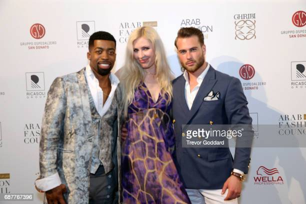 Joey Harris Kim Andersson and Guest attend the Arab Fashion Week Ready Couture Resort 2018 Gala Dinner on May 202017 at Armani Hotel in Dubai United...