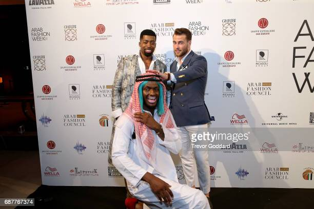 Joey Harris Kim Andersson and guest poses at attend the Arab Fashion Week Ready Couture Resort 2018 Gala Dinner on May 202017 at Armani Hotel in...