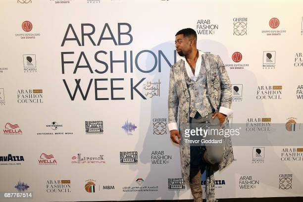 Joey Harris poses at the attend the Arab Fashion Week Ready Couture Resort 2018 Gala Dinner on May 202017 at Armani Hotel in Dubai United Arab...