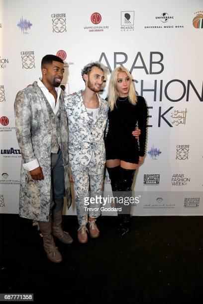 Joey Harris Sophie Beem and Jacob Abrian attend the Arab Fashion Week Ready Couture Resort 2018 Gala Dinner on May 202017 at Armani Hotel in Dubai...