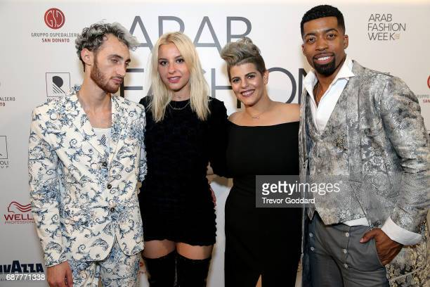 Joey Harris Sophie Beem and Jacob Abrian pose with Mira Nasr Eddine at the Arab Fashion Week Ready Couture Resort 2018 Gala Dinner on May 202017 at...