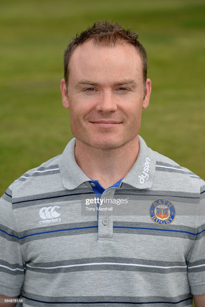 Joey Hayes First Team Physiotherapist poses for a portrait during the Bath Rugby squad photo call for the 20162017 Aviva Premiership Rugby season on...