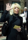 Joey Heatherton arrives for a memorial service for Bob Hope at the Academy of Television Arts and Sciences in the North Hollywood section of Los...