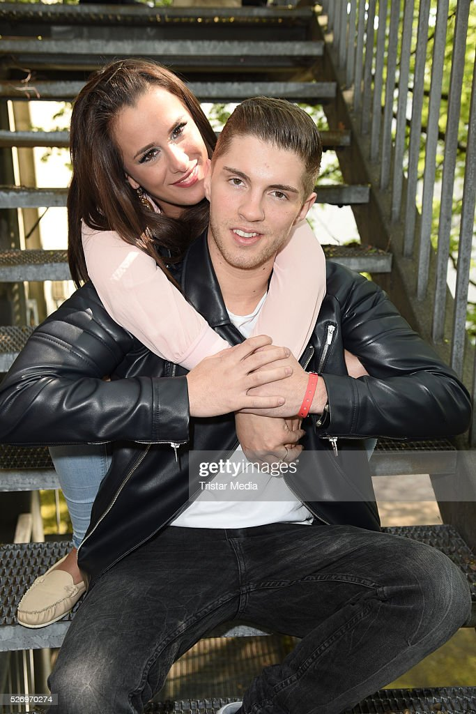Joey Heindle and his girlfriend Justine Dippl attend the VIP Area - 'BILD Renntag' At Trabrennbahn Gelsenkirchen on Mai 01, 2016 in Gelsenjirchen, Germany.