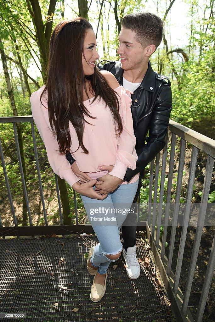 Joey Heindle and his girlfriend Justine Dippl attend the VIP Area - 'BILD Renntag' At Trabrennbahn Gelsenkirchen on Mai 01, 2016 in Gelsenjirchen, Germany.