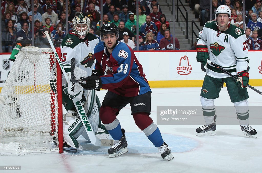 <a gi-track='captionPersonalityLinkClicked' href=/galleries/search?phrase=Joey+Hishon&family=editorial&specificpeople=4782590 ng-click='$event.stopPropagation()'>Joey Hishon</a> #38 of the Colorado Avalanche skates against the Minnesota Wild Game Five of the First Round of the 2014 NHL Stanley Cup Playoffs at Pepsi Center on April 26, 2014 in Denver, Colorado. The Avalanche defeated the Wild 4-3 in overtime to take a 3-2 game lead in the series.