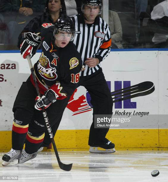 Joey Hishon of the Owen Sound Attack skates after the puck in a game against the London Knights on October 2 2009 at the John Labatt Centre in London...