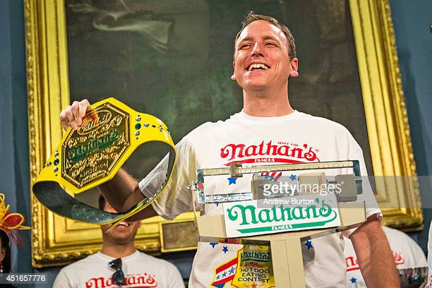 Joey 'Jaws' Chestnut is officially weighed in the day prior to the Nathan's Hot Dog Eating Contest at City Hall on July 3 2014 in New York City...