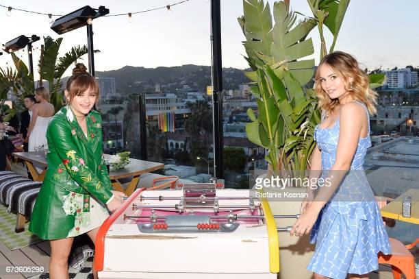 Joey King and Debby Ryan attend harper x Harper's BAZAAR May Issue Event Hosted by The Stallone Sisters and Amanda Weiner Alagem at Mama Shelter...