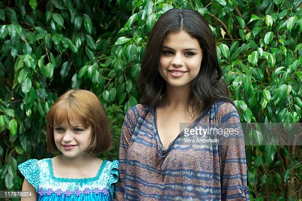 Joey King and Selena Gomez at the 'Ramona And Beezus' Press Conference at The Four Seasons Hotel on July 23 2010 in Beverly Hills California
