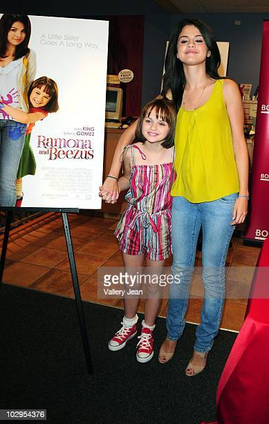 Joey King and Selena Gomez attend meet and greet event for the new upcoming film 'Ramona and Beezus' at Borders store on July 17 2010 in Miami Florida