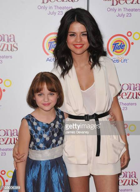 Joey King and Selena Gomez attends the premiere of 'Ramona and Beezus' in Madison Square Park on July 20 2010 in New York City