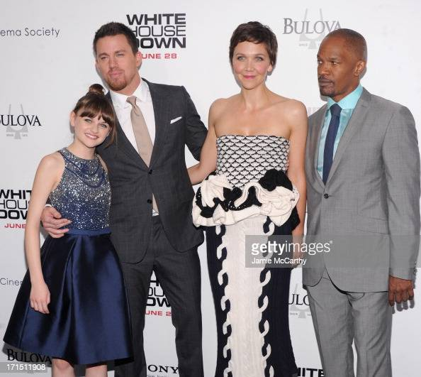 Joey King Channing Tatum Maggie Gyllenhaal and Jamie Foxx attend 'White House Down' New York Premiere at Ziegfeld Theater on June 25 2013 in New York...