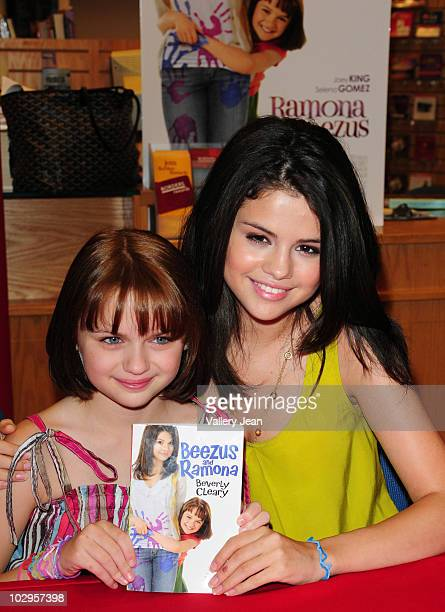 Joey Kings and Selena Gomez attend the meet and greet event for the new upcoming film 'Ramona and Beezus' at Borders store on July 17 2010 in Miami...